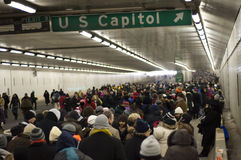 Lines in Tunnel at Obama Inauguration Stock Photo