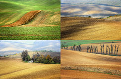 Lines and waves in the detail look over Moravian fields. Stock Photography