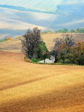 Lines and waves in the detail look over Moravian fields. Royalty Free Stock Photography