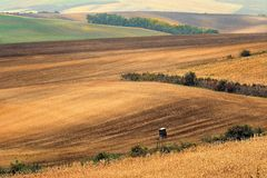Lines and waves in the detail look over Moravian fields. Stock Image