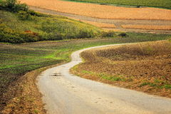 Lines and waves in the detail look over Moravian fields. Royalty Free Stock Image