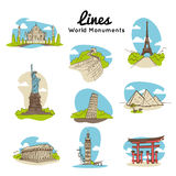 Lines World Monuments from different countries. Royalty Free Stock Photo