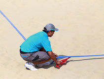 Linesman of beach volleyball,xiamen,china Royalty Free Stock Photo