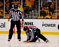 Linesman repairs the ice Stock Photography