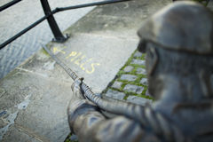 The Linesman statue at Liffey river Stock Images