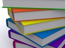 Lineup of 3d books. 3d render of a stack of nice books Stock Image