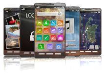 Lineup of 3D rendered smartphones Stock Photos