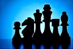 Lineup av schackstycken Arkivbilder
