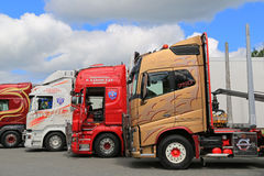 Lineup of Colorful Volvo and Scania Trucks Stock Photo