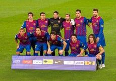 Lineup för FC Barcelona royaltyfri foto