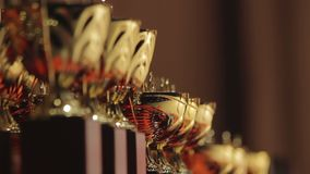 Lineup of golden cups for competition leaders, winner trophy, successful result. Stock footage stock footage