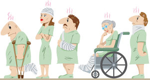 Lineup of injured people Royalty Free Stock Image