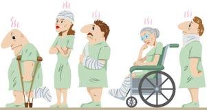 Lineup of injured people Royalty Free Stock Image