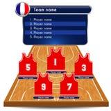 Lineup och domstol för basketspelare Arkivfoton