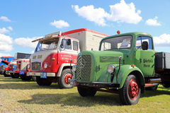 Lineup of Retro Trucks on a Show stock image