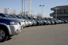 Lineup of sport utility vehicles Royalty Free Stock Photography