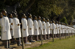 Lineup of terracotta soldiers. Images of ancient terracotta soldiers Stock Photo