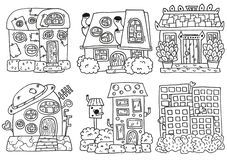 Linework домов Комплект чертежа руки иллюстрация штока