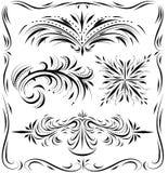 Linework 3. Vintage Linework page dividers Black Swirls Stock Image