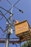 Lineworker works on power overhead Royalty Free Stock Photography