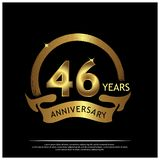Forty six years anniversary golden. anniversary template design for web, game ,Creative poster, booklet, leaflet, flyer, magazine,. Invitation card - Vector royalty free illustration