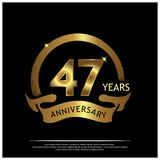 Forty seven years anniversary golden. anniversary template design for web, game ,Creative poster, booklet, leaflet, flyer, magazi. Ne, invitation card - Vector stock illustration