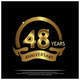Forty eight years anniversary golden. anniversary template design for web, game ,Creative poster, booklet, leaflet, flyer, magazin. E, invitation card - Vector stock illustration