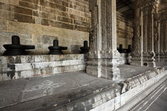 Lingams and columns in Hindu temple Royalty Free Stock Images