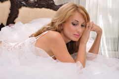 Lingerie blond girl Royalty Free Stock Photography