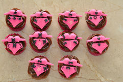 Lingerie decorated cupcakes Royalty Free Stock Images