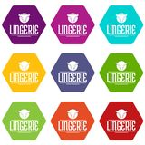 Lingerie design icons set 9 vector. Lingerie design icons 9 set coloful isolated on white for web Stock Images