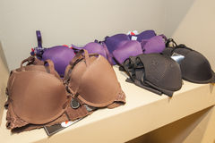 Lingerie on display in clothes shop Royalty Free Stock Photo