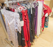 Lingerie on display in clothes shop Stock Images