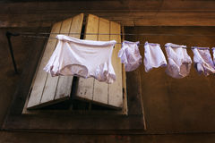 Lingerie is dried outdoors - Slovenia, Isola Stock Photo