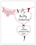 Lingerie and Happy Valentine's day greeting card vector Royalty Free Stock Photography