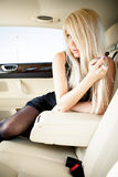 Lingerie in a luxury car Royalty Free Stock Photography