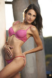Lingerie Model in Pink Stock Images