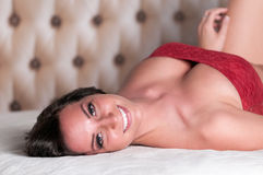 Lingerie Model Smiles Royalty Free Stock Image