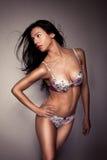 Lingerie s'usante de beau et sexy brunette Photos stock
