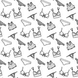 Lingerie seamless pattern. Vector underwear background design. Outline hand drawn illustration. Bras and panties doodle Stock Photography