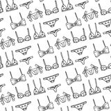 Lingerie seamless pattern. Vector underwear background design. Outline hand drawn illustration. Bras and panties doodle Royalty Free Stock Photos