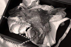 Lingerie set with pearl necklace Stock Images
