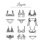 Lingerie set. Vector underwear design. Outline hand drawn illustration. Bras and panties doodle. Stock Photography