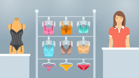 Lingerie shop interior vector flat illustration Royalty Free Stock Photos