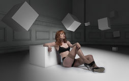 Lingerie woman surrounded by 3d cube art Royalty Free Stock Photo