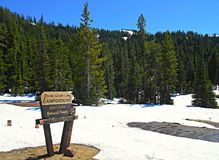 Lingering Snow. Three Creek Lake Campground in early July - Deschutes National Forest - near Sisters, OR royalty free stock photography