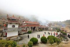 Lingjiuyan-Tempel auf jiuxianshan Berg, luftgetrockneter Ziegelstein rgb Stockbilder