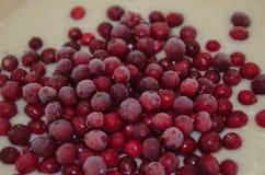 lingonberries congelados em uma massa de torta imagens de stock royalty free