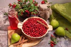 Lingonberries e produtos do lingonberry fotos de stock
