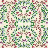 Lingonberry blueberry seamless pattern. The pattern is seamless, blueberries and lingonberries. Sprigs with leaves. Berries. Bright dragonflies in the pattern Stock Photos